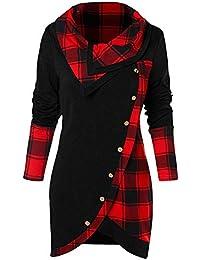 CharMma Damen Bluse Langarm Cowl Neck Asymmetrisch Kariert Tunika T-Shirt ccf9245603