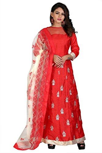 Edeal Online Red Banglori Silk Dress (RED RAMP)