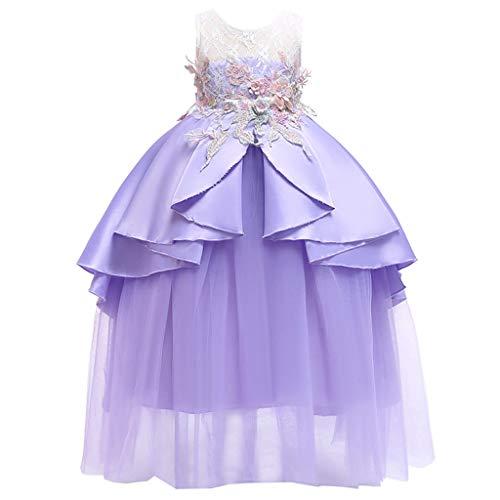 Lila Prinzessin Jasmin Kostüm - TIFIY Blumensmädchenkleid Prinzessin Bridesmaid Pageant Gown Hochzeitskleid Elegant Langes Abendkleid Kommunikation Sommer Karneval Party kostüm (Lila,130)