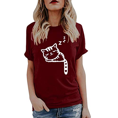 Deloito Damen Mode Sommer Katze Drucken Tank Top Casual Bluse Ärmelloses O-Ausschnitt T-Shirt Weste (Weinrot-G,XX-Large)