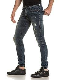 Sixth June - Jogger pant homme bleu jean délavé déchiré