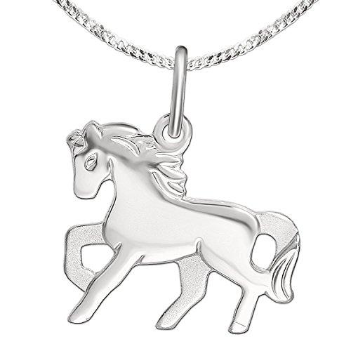 CLEVER SCHMUCK Set Silberner Mädchen Anhänger kleines Pferd 15 x 12 mm flach hochglänzend poliert & Kette Panzer 42 cm Sterling Silber 925