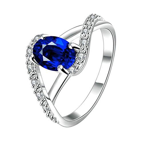 Aeici Schmuck Ringe Blau Silber Damen Herzform Zirkonia Zirkon Größe 57 (18.1)