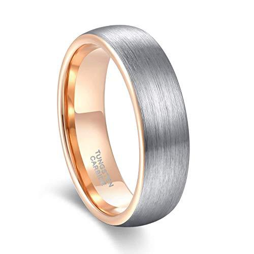 Titaniumcentral 6mm/8mm Wolframcarbid Ringe Gebürstet Trauringe Verlobungsringe (6mm(Wolframcarbid)-Rosegold, 66 (21.0))