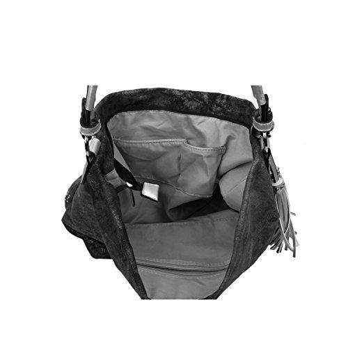OBC ital-design XXL Damen Stern Tasche Fransen Handtasche Canvas Baumwolle Strasssteine Gold-Silber Bowling Beuteltasche Hobo-Bag Henkel Shopper CrossOver (Blau-Silber) Schwarz-Silber