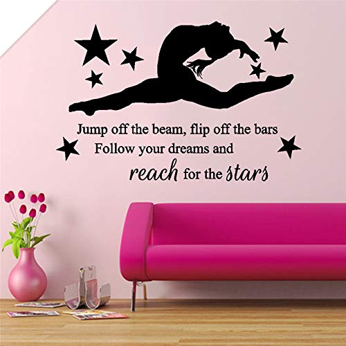 supmsds Girl Gymnast Bedroom Quote, Vinyl Wall Art Sticker Decal, Mural Nursery Kids Room Removable Living Wall Sticker 58 X 38 cm