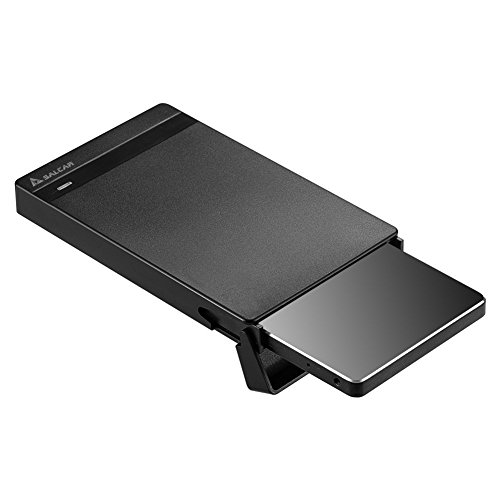 """Salcar USB 3.0 2,5 Zoll Externes Festplattengehäuse für 7mm 9.5mm 2,5"""" SATA HDD und SSD mit USB 3.0 Kabel Unterstützung UASP Werkzeuglos Schwarz"""