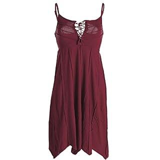 Vishes - Alternative Bekleidung - Leichtes Sommerkleid mit verstellbaren Trägern dunkelrot 38