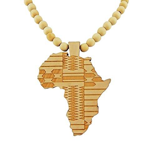 Hanessa Weiß Damen u. Herren Schmuck.Africa Perlen Halskette , Land-Karte Afrika aus Holz