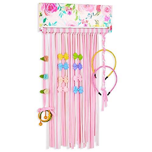 Basumee Mädchen Haarschleife Aufbewahrung Wandhalterung Haarspangen Halter aus Holz Und Stoff Quaste, Rosa Blume -