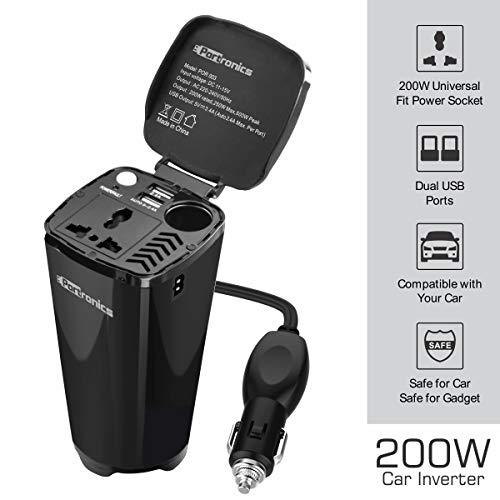 Portronics CarPower One POR-003 Portable 200W Car Inverter with Single AC 220V Output (Black)