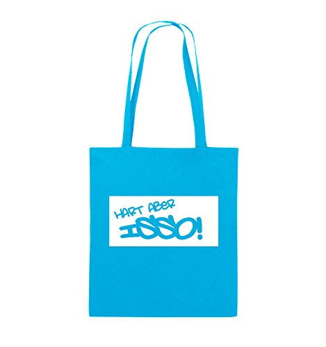 Comedy Bags - HART ABER ISSO! - Jutebeutel - lange Henkel - 38x42cm - Farbe: Schwarz / Pink Hellblau / Weiss