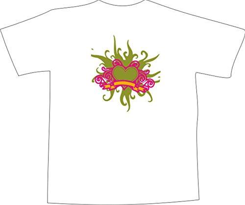T-Shirt E462 Schönes T-Shirt mit farbigem Brustaufdruck - Logo / Grafik - abstraktes Design - einfaches Ornament aus Pflanzen Herz und Banner Mehrfarbig