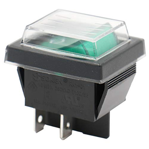 Heschen, interruttore basculante on-off, tipo DPST, 4terminali, a luce verde, da 16A, 250V corrente alternata, con copertura impermeabile