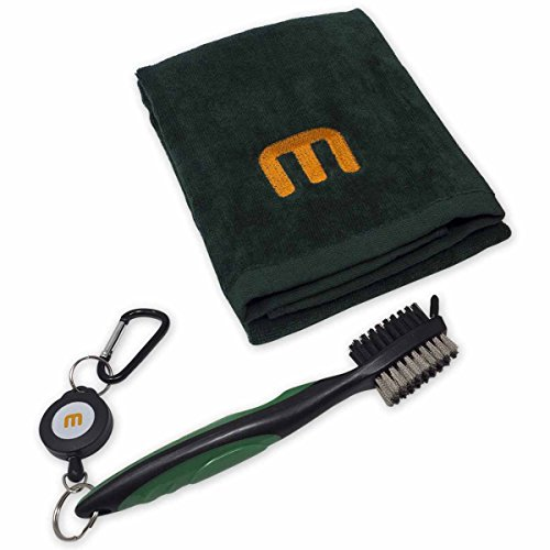 Golf Cleaning Kit - 3 in 1 Retractable Club Head Brush & Deluxe Trifold Towel (Green)