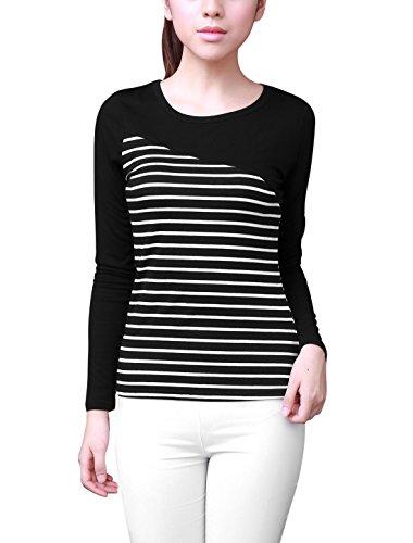allegra-k-women-round-neck-long-sleeve-stripes-splicing-slim-fit-tee-shirt