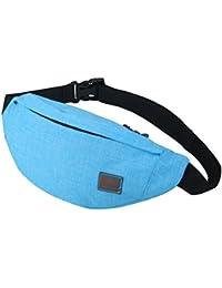 Men's Waist Bag Sports Outdoor Recreation Waterproof Shoulder Messenger Chest Bag (SkyBlue)