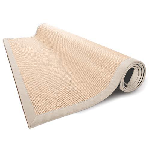 casa pura® Sisal Teppich aus Naturfasern | Natur | mit Bordüre aus Baumwolle | pflegeleicht | Größe wählbar (140x200 cm)