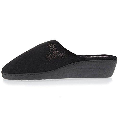 Pantofole Da Donna Con Tacco E Fiore Nero Isotonico