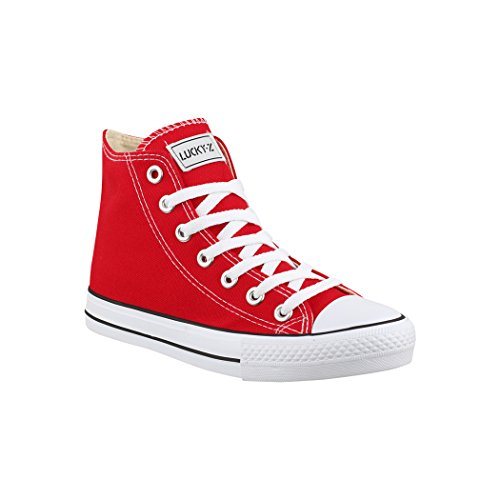Elara Zapatilla de Deporte Unisex Sneaker High Top Chunkyrayan BE-CA014/CB019 Red-42