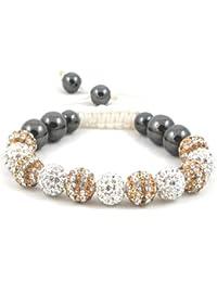 11-Ball Dual Double Colour Row Golden and White Bead Shamballa Bracelet on White String ** EXCLUSIVE DESIGN **