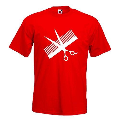 KIWISTAR - Kamm & Schere T-Shirt in 15 verschiedenen Farben - Herren Funshirt bedruckt Design Sprüche Spruch Motive Oberteil Baumwolle Print Größe S M L XL XXL Rot