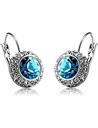 Karatcart Platinum Plated Blue Austrian Crystal Clip-on Earrings For Women