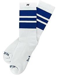 The blue Blues | Halbhohe Retro Socken mit Streifen von Spirit of 76 | Weiß, Blau gestreift | stylische Unisex Kniestrümpfe