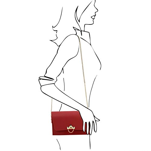 Tuscany Leather TL Bag Pochette in pelle con tracolla a catena Rosso Rosso