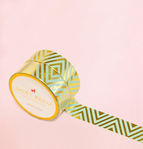Mint Chevron in Gold Foil Washi Tape for Planning • Planer und Organizer • Scrapbooking • Deko • Office • Party Supplies • Gift Wrapping • Colorful Decorative • Masking Tapes • DIY