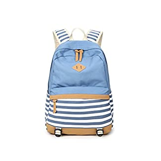 Mochila Escolar para Hombre/Mujer Lona Mochila Elegante de Barra Mochilas para Adolescentes Chicas Chicos Estudiantes-Azul