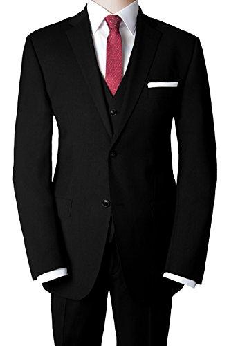 Roy Robson - Shape Fit - Herren Baukasten Anzug mit Weste aus Super 110'S Schurwolle (Art.: 5000, Sakko:S-3042, Hose: S-340, Weste: S-30), Größe:52;Farbe:Black (001)