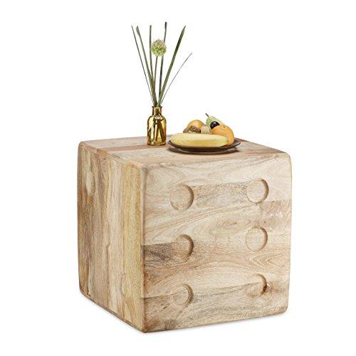 Relaxdays Table d'appoint cube dé en bois de manguier table déco carrée originale table basse HxlxP: 45 x 45 x 45 cm, nature