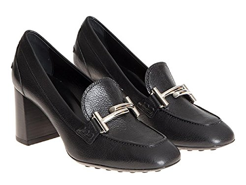 <span class='b_prefix'></span> Tod's high block heels black leather pumps shoes - Model number: XXW0ZM0Q950E4VB999