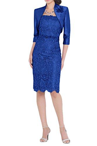Royaldress Silber Spitze Traegerlos Abendkleider Ballkleider Brautmutterkleider Etuikleider mit Bolero Royal Blau