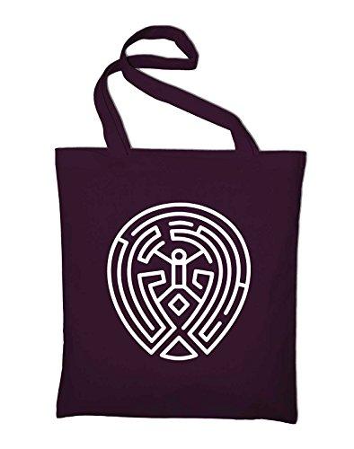 2# Westworld The Maze Labyrinth Logo Zeichen Sign TV Serie Jutebeutel, Beutel, Stoffbeutel, Baumwolltasche Bordeaux