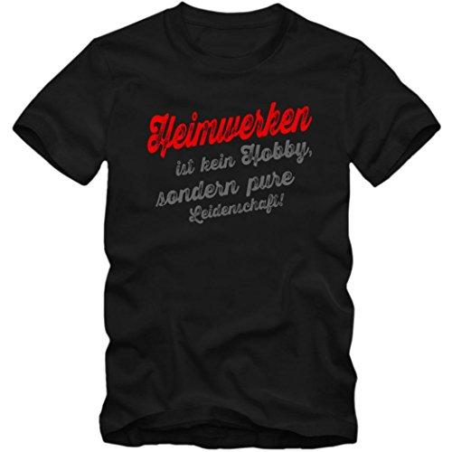 Heimwerken #1 T-Shirt | Heimwerker-Shirt | Eat Sleep Repeat | Herren | Shirt © Shirt Happenz Schwarz (Deep Black L190)