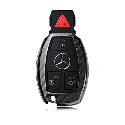 FancyAuto Hülle Autoschlüssel Keyless Schlüssel Schutzhülle Schlüsselhülle Cover Auto für Mercedes Benz Plug-in Key (Black,Carbon Fiber)