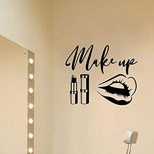 Namefeng Wandaufkleber Make-Up Zitat Wandkunst Aufkleber Beauty Salon Dekoration Make Up Lippen Aufkleber Lippenstift Pinsel Wandaufkleber Ankleidezimmer Dekor 67X56Cm