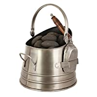 Antique Style French Pewter Effect Silver Small Coal Scuttle Bucket with Shovel - Traditional style cottage fireside hearth scuttle for a vintage or antique style home. Perfect way to keep your stove fuelled this winter! - H26.5 x Diameter of base 27cm