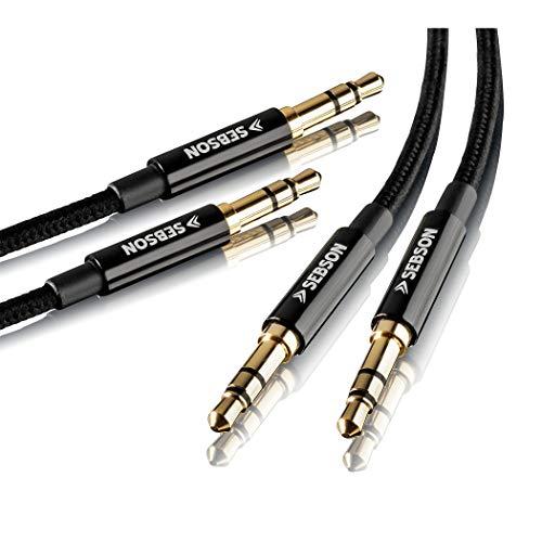 SEBSON 2X Câble Jack Stereo 3.5 mm mâle vers mâle, Audio Cable Auxiliaire plaquée Or pour Telephone, Casque, Autoradio - tressé 1m