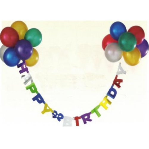 Schriftband Happy Birthday bunt 1,45m lang, mit Metallic-Ballons