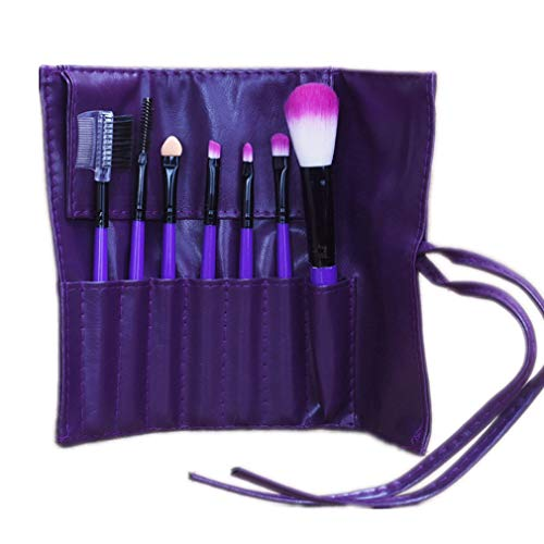 BlueCookies 7 Pièces Violet Pinceau de Maquillage Professionnel Cosmétique Brosse Trousse de Rangement avec Fondation Ombre à Paupières Rougir Brosse par SamGreatWorld