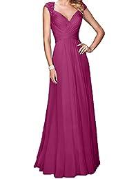 52be71433b62 Charmant Damen Blau Langes Chiffon Abendkleider Promkleider  Abschlussballkleider A-Linie Festlichkleider