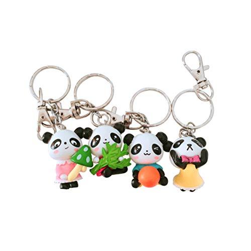 Toyvian 4pcs Cartoon Panda Puppe Schlüsselanhänger Niedliche Garage Kit PVC Schlüsselanhänger