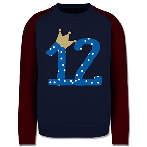Geburtstag - 12. Geburtstag Krone Junge Zwölfter - Herren Baseball Pullover Navy Blau/Burgundrot