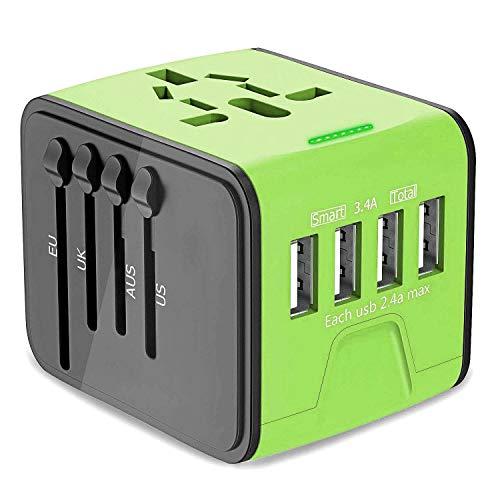 Universal Reisestecker, Bothink Reiseadapter mit 4 USB Ladeports für Mobiltelefon Pad Laptop, Universal Weltweites Reise Ladegerät Internationale Netzadapter Stromadapter für US EU AU UK (Grün) - Low-power-haartrockner