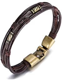 Halukakah Retro Men Leather Bracelet Vintage Style 8.66In 22cm with Free Giftbox