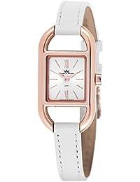 Yonger & Bresson DCR 1694-02 - Reloj para mujer, movimiento de cuarzo, analógico, caja de plata, correa de piel blanca