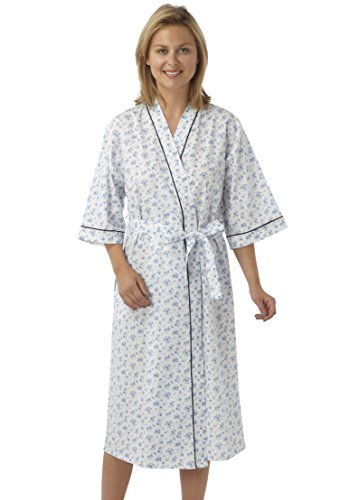 Ladies Poly/Cotton Kimono Style Wrapover Dressing Gown Pink Blue or Lilac Floral Design. Sizes10-12 12-14 16-18 20-22 24-26 28-30 - 41cJtl8Oe 2BL - Ladies Poly/Cotton Kimono Style Wrapover Dressing Gown Pink Blue or Lilac Floral Design. Sizes10-12 12-14 16-18 20-22 24-26 28-30